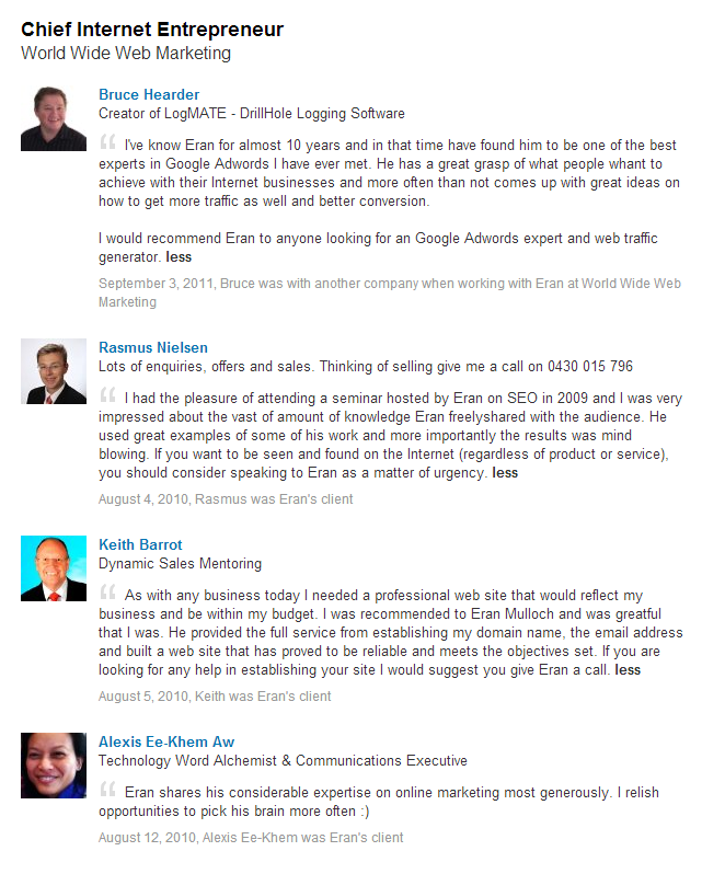 World Wide Web Marketing Testimonials