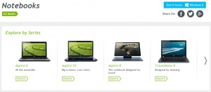 Acer laptops product menu