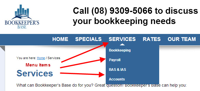 Bookkeeper's Base Perth services menu