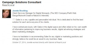 Gabe's LinkedIn Recommendations from ReachLocal